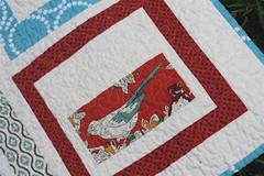 Red & Aqua Quilt - Detail2