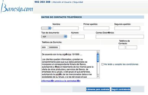 Captura de iBanesto, las tildes mal y un formato de números de teléfono extraño
