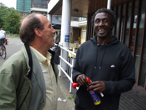 Simon with Linford Christie at Olympic Champions bring street Athletics to Lambeth 05/08/09