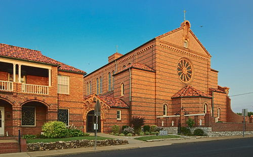 Saint George Roman Catholic Church, in Affton, Missouri, USA - exterior at sunrise