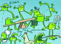 frog doodle (Fred Blunt) Tags: illustration cartoon humour doodle frogs quirky brushpen fredblunt