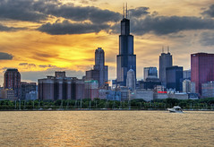 Chicago Skyline Sunset (Sky Noir) Tags: sunset red usa chicago skyline photography us illinois nikon downtown cityscape searstower unitedstatesofamerica 18200 hdr lightroom photomatix cnacenter willistower skynoir bybilldickinsonskynoircom
