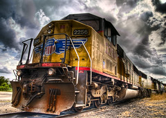 union pacific engine 2256(hey bert) (colin.berry) Tags: railroad colin clouds train berry texas pacific union engine rusty dirty taylor crusty hdr looming topaz lucisart lucis photomatix