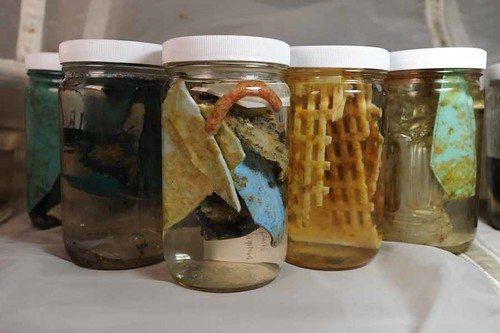 Jars of debris preserved for analysis.