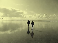 .Walking on Clouds. (Tasmin_Bahia) Tags: sea summer sky sun sunlight white holiday black detail reflection beach nature water beautiful sepia wales clouds reflections outside outdoors sand pretty waves peace shadows bright sandy peaceful sunny reflective gower ripples morgan simple tones whispy whispyclouds rhossilibeach portenyon cajo walkingonclouds tasminbahia