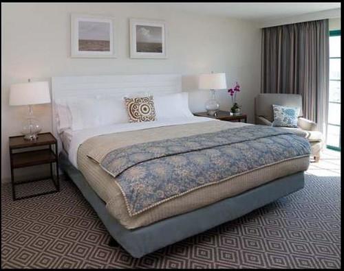 Blue + brown bedroom by Nickey Kehoe: Doubletree Los Angeles
