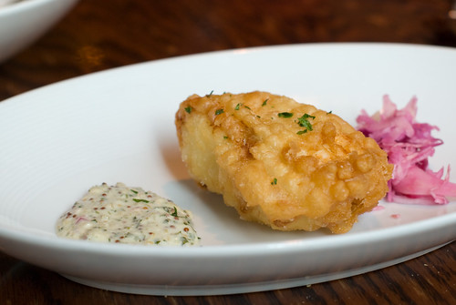 Beer Battered Halibut with Cabbage Slaw