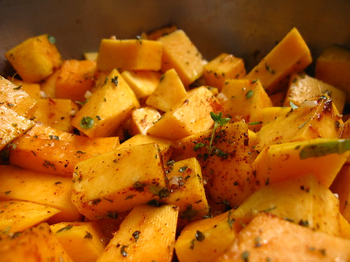 Grilled Butternut Squash with Fresh Herbs, Spices, & Garlic