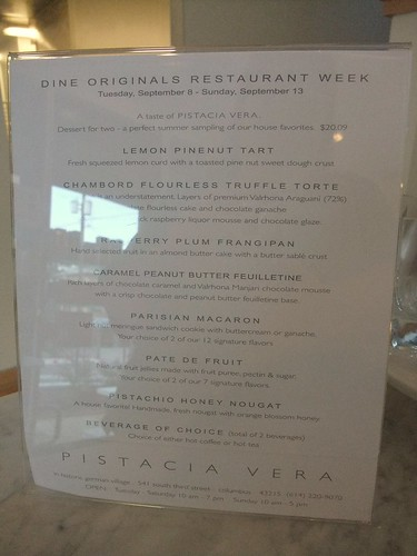 Restaurant Week Menu at Pistacia Vera