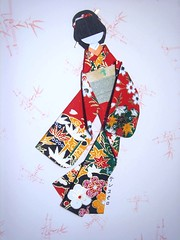 Bamboo girl - Hand-made Japanese paper doll (tengds) Tags: flowers red bamboo kimono obi papercraft japanesepaper washi ningyo handmadedoll chiyogami scrapbookpaper yuzenwashi japanesepaperdoll origamidoll shikishidoll tengds