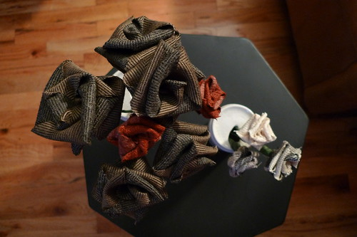 recycled fabric roses