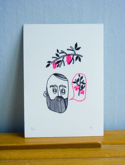 Pincone man print (Made with love by Cecilie) Tags: pink man black pine forest beard screenprint cone gocco fluorecent