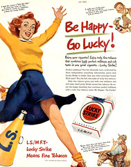 1950-happylucky (x-ray delta one) Tags: vintage magazine ads advertising suburban ad suburbia retro nostalgia 1940s 1950s americana 1960s atomic populuxe housewife coldwar popularscience popularmechanics magazineillustration atomicpower