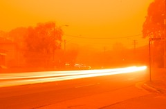 Sydney duststorm (Andy Burton Oz) Tags: orange color colour sydney australia drought nsw dust duststorm kuringgai roseville pacifichighway nikond40 cmwdorange afsdxzoomnikkor1855mmf3556gedii travelsofhomerodyssey