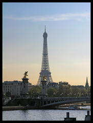 Paris - Eiffel tower in the sunset (Romeodesign) Tags: bridge sunset paris france tower seine river tour eiffel alexandre pontalexandre