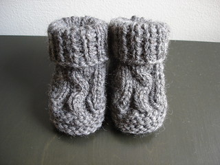 Abc Knitting Patterns Baby Booties : Ravelry: Two Needle Cable Knit Baby Booties pattern by Barbara Breiter