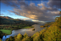 Queens View - Loch Tummel (angus clyne) Tags: autumn trees leaves pine clouds sunrise island dawn scotland perthshire birch loch larch spruce hdr scots pitlochry flikcr lochtummel queensview schiehallion colorphotoaward