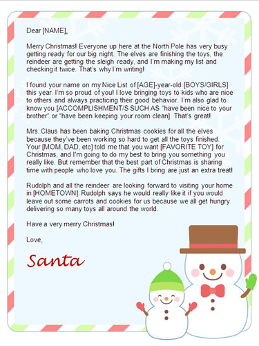 christmas letters from santa-snowman