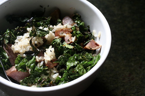 rice, potatoes and kale