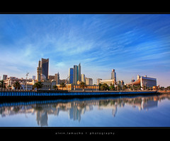 Kuwait City ~ HDR (alvin lamucho ) Tags: blue clouds buildings reflections seaside october muslim islam towers smooth middleeast bank mosque kuwait nationalassembly kuwaitcity gulfroad parliamentbuilding pritzkerprize legislativebuilding canon450d rebelxsi alvinlamucho danisharchitect