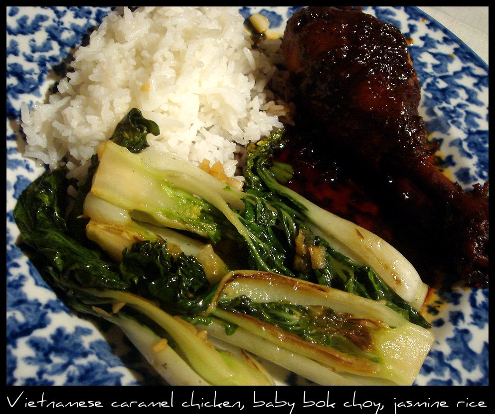 Vietnamese Caramel Chicken, jasmine rice, and soy-glazed baby bok choy