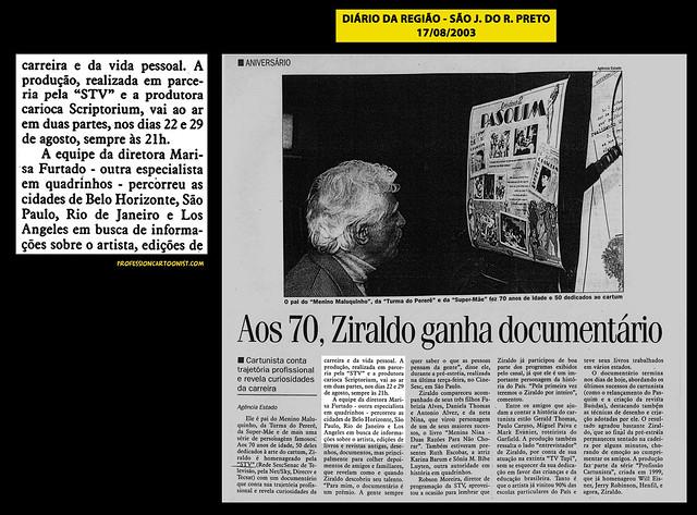 """""""Aos 70, Ziraldo ganha documentário"""" - Diário da Região - 17/08/2003"""