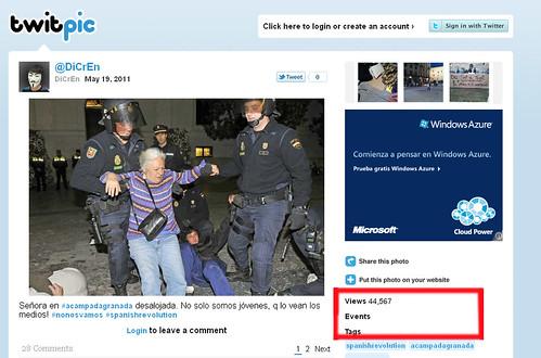 Pantallazo del Twitpic del usuario, donde se aprecia que la foto de EFE reunió casi 45.000 visualizaciones