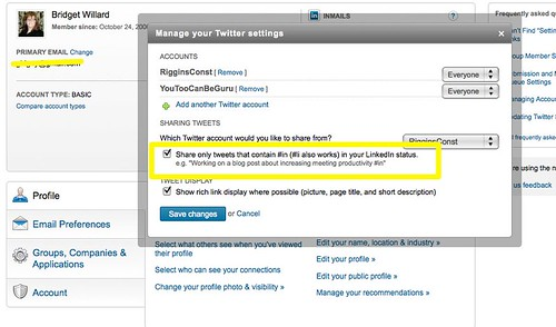 LinkedIN Twitter Settings