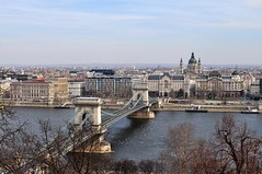 Budapest: Chain Bridge & St. Stephen's Basilica from Castle Hill (David Baggins) Tags: hungary day budapest ungarn magyarorszg hungra d5000 pwpartlycloudy