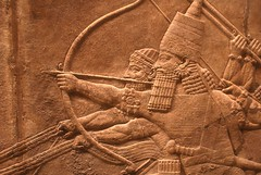 The Royal Hunt of the Sun (Iian Neill) Tags: london stone persian king bow arrow archer britishmuseum basrelief charioteer royallionhunt