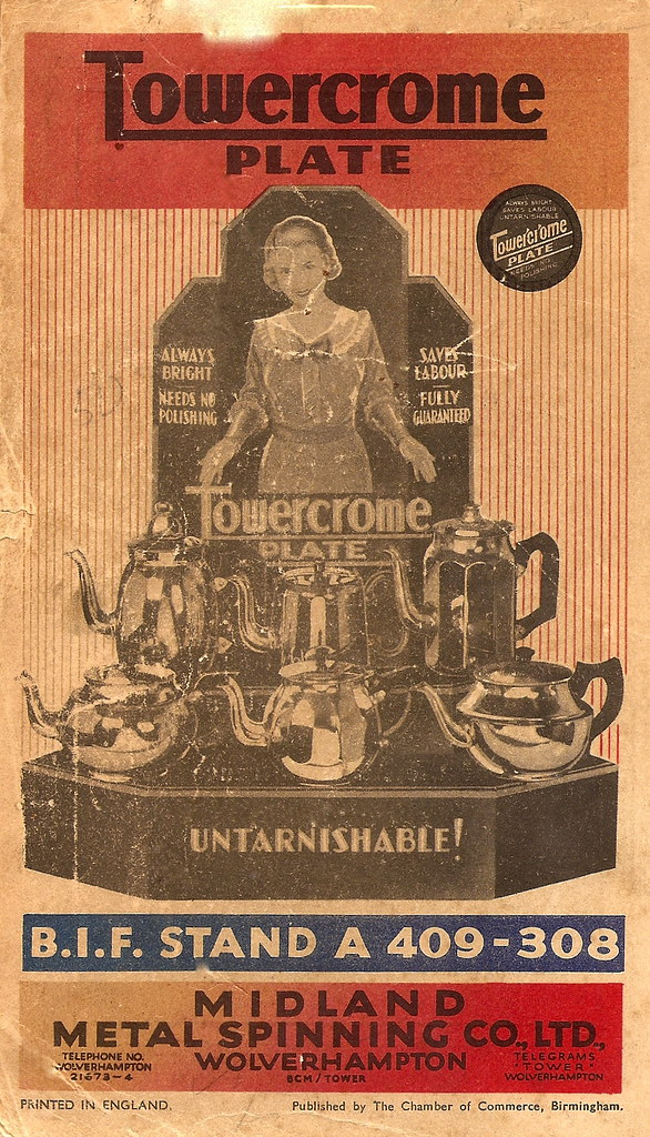 Towerchrome Plate kitchenware, Wolverhampton, advert - 1935