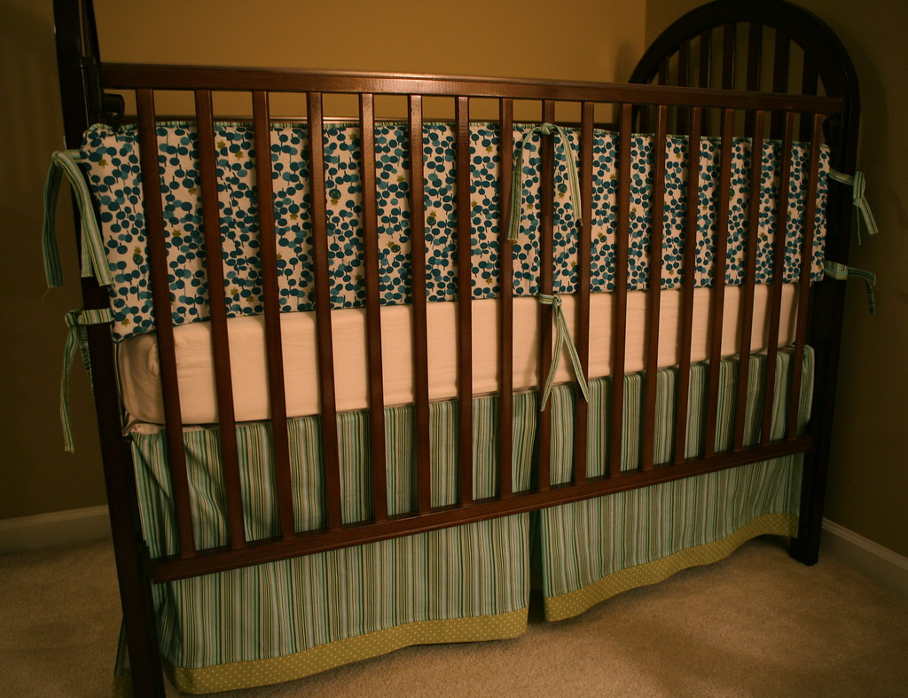 Custom baby bedding- dots and frogs