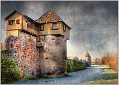 In Secure (Jean-Michel Priaux) Tags: house france castle art history rock wall illustration photoshop painting landscape nikon rocks tour dream peinture dreaming alsace secure paysage mur hdr textured anotherworld trexture mattepainting rempart donjon d90 bergheim justimagine priaux aplusphoto feodal francesmasterpieces