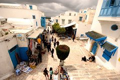 A Storm is Brewing Over Sidi Bou Said, Tunisia, North Africa (curreyuk) Tags: blue storm color colour doors village northafrica tunisia sidibousaid shutters 1001nights tunisie currey totalphoto cafedesnattes grahamcurrey curreyuk peachofashot