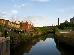 Ouseburn reflection - 175/365 (Paul J White) Tags: blue chimney sky urban reflection brick water river newcastle evening nikon burn maynards 365 toon kiln toffee glasshouse maling d300 wherry ouseburnvalley project365