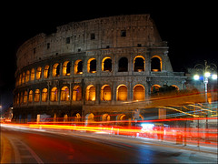 The Colosseum at night (I) (MarcelGermain) Tags: road street travel light italy rome roma cars night geotagged lights nikon europe italia trails landmark colosseum nocturne notte colosseo d80 colisseu theperfectphotographer marcelgermain