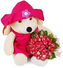 Ursinha Pink e Mini Rosas (Inter Flores) Tags: ursinho minirosas minirosa