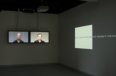 "2live installation shot: ""Want v3"" and ""(LOVE + HATE) x 100"""