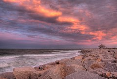 The Cove at Fort Fisher (bobjohnson244) Tags: ocean sunset sky sun nikon rocks waves tide northcarolina spray theme wilmington tidal hdr nhc fortfisher ftfisher kurebeach photomatix cloudsandsky d80 newhanovercounty skytheme