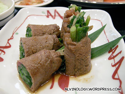 Asparagus wrapped with beef