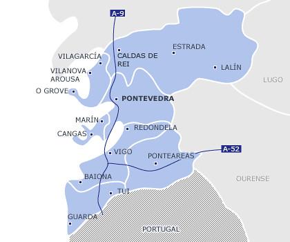 Mapa de autopistas de Pontevedra