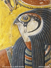 Re-Horakhty  in the Tomb of Seti I (KV17) (Sandro Vannini) Tags: wall ancient tomb paintings egypt pharaoh valleyofthekings hieroglyphics egyptians newkingdom 19thdynasty setii bookofgates rehorakhty heritagekey sandrovannini giovannibattistabelzoni heritagesite1222 morningsungod firstpillaredhall