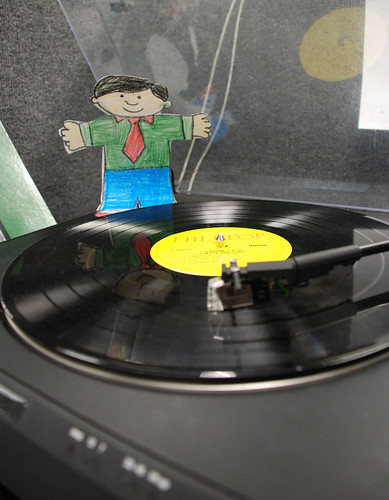 Flat Stanley on the LP turntable