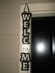 My fabulous glittered Halloween welcome sign