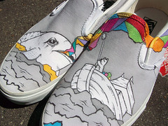 8 ticks east and full steam ahead. (wu_wallace) Tags: painting shoes wallace vans slip wu vansshoes