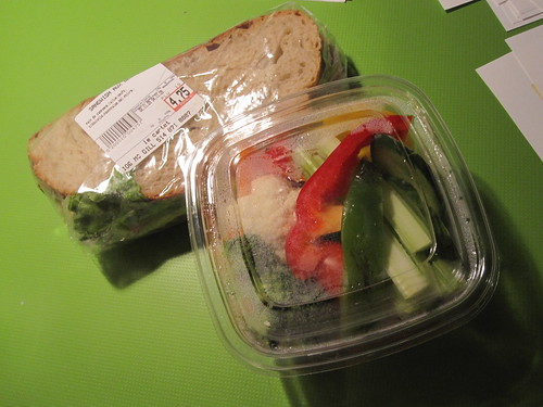 Egg sandwich ($4.75) and crudité ($4) from Cartet
