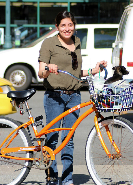 Vanessa and her orange bicycle