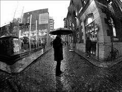 The Weather Man (Sator Arepo) Tags: street blackandwhite bw dublin rain weather umbrella cross cloudy coat streetphotography olympus fisheye rainy crossroad templebar zuiko weatherman e330 8mmed misteriousman