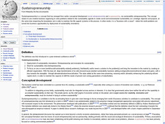 Sustainopreneurship - Wikipedia Screenshot