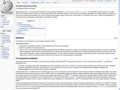 Sustainopreneurship - Wikipedia Screenshot